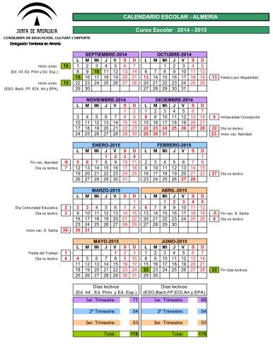 Calendario Escolar 2020 19 Almeria.Web Del Ies Turaniana